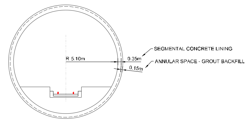 Typical tunnel section from AECOM13 study. Appendix 2B, pp17