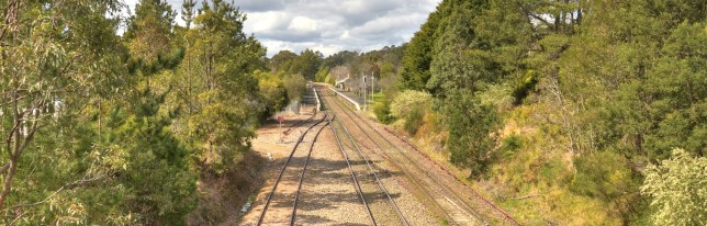 Northbound view towards Bundanoon Station. Note the third, unused track on the left. Image: Hot Rails