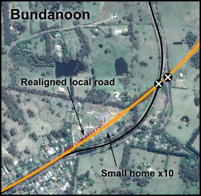 Alignment detail at east of Bundanoon, showing several properties requiring demolition.