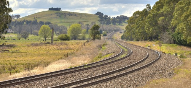 Looking towards Moss Vale from Gatehouse Lane. The straight part of the existing alignment will be used by Hot Rails.