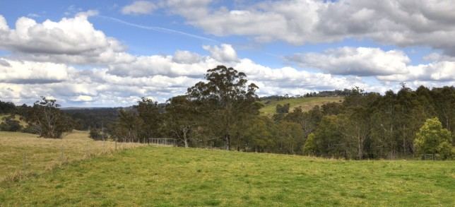 View towards Bundanoon from Rockleigh Road, showing the terrain the Werai Viaducts will have to traverse.