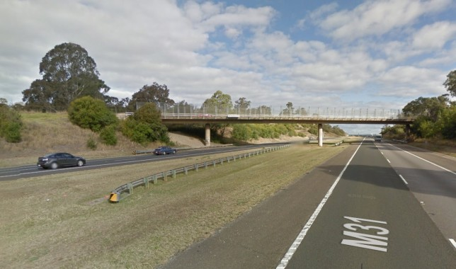 Southbound view of the Menangle Rd overpass, showing the part needing to be widened. Image: Google Maps.