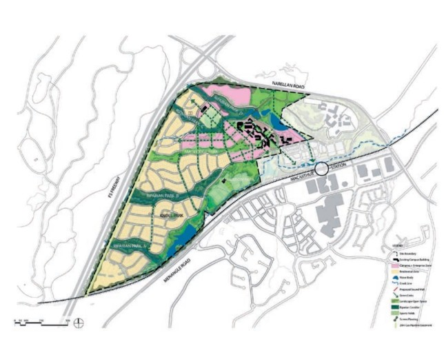 UWS Campbelltown masterplan showing residential development. Source : Campbelltown City Council
