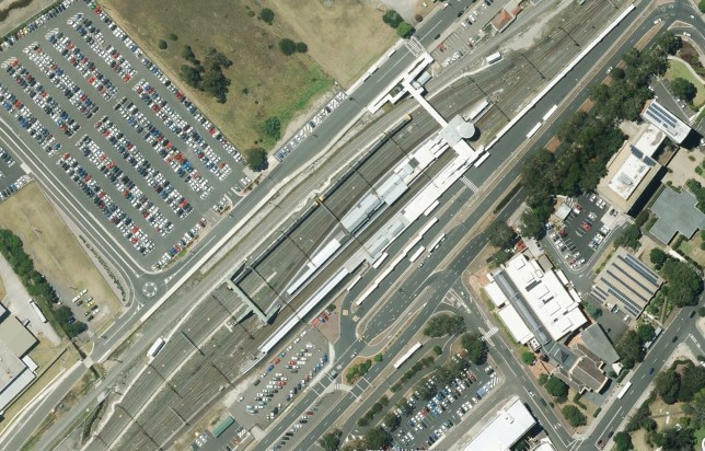 Campbelltown Station showing extensive development. Image: Google Maps