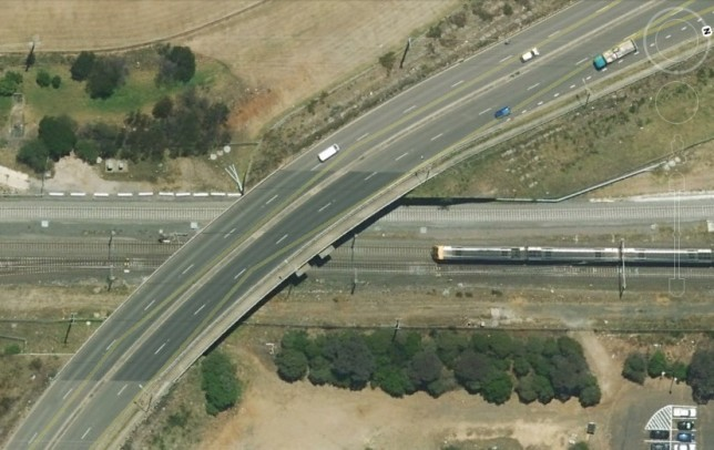 Rail corridor at Ben Lomond Road overbridge, just to the south of Minto Station. Image: Google Maps.