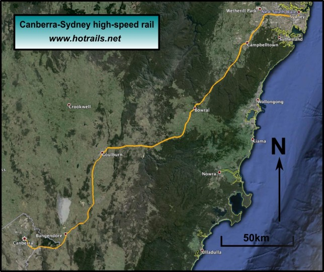 Proposed alignment for Canberra to Sydney high-speed rail - click to enlarge