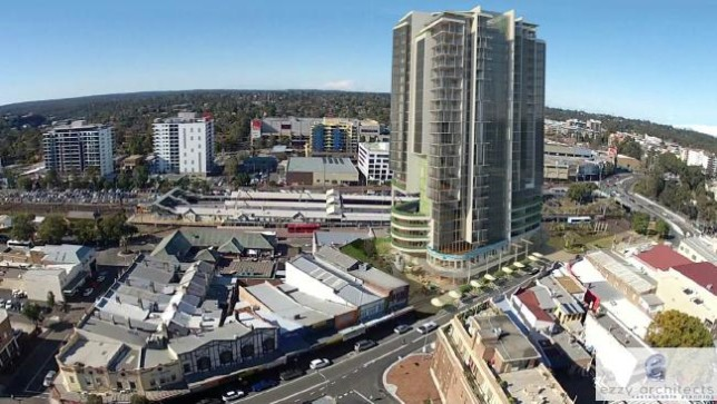 Real-estate developments, such as this residential tower proposal near Hornsby Station, are typical examples of positive value capture. Image: Ezzy Architects via Daily Telegraph.