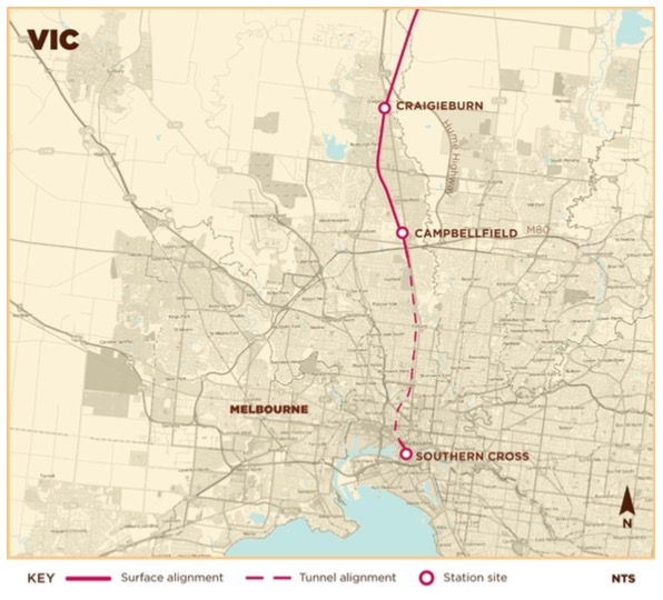 AECOM study's proposed entry corridor to Melbourne. Image: AECOM13, Appendix 3A page 96.